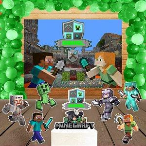 Kit convite, painel, totens e topo bolo Minecraft