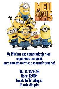 Convite digital personalizado Minions 022