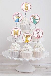 Embalagem com 20 toppers para cupcake Angelina Bailarina
