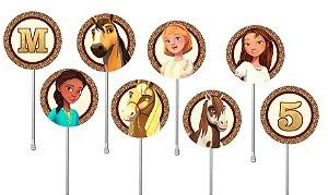 Embalagem com 24 toppers para cupcake Spirit Riding Free