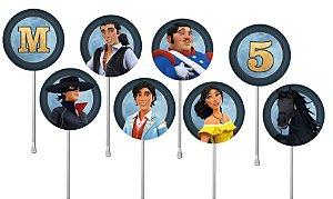 Embalagem com 24 toppers para cupcake Zorro