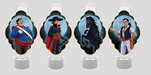 Embalagem com 8 apliques para Tubete Zorro