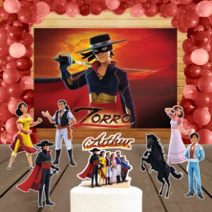 Kit convite, painel, totens e topo bolo Zorro