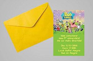 Convite 10x15 Bob Esponja 011