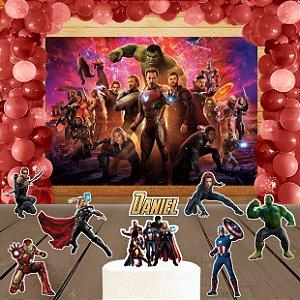 Kit convite, painel, totens e topo bolo Vingadores: Guerra Infinita