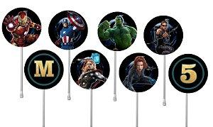 Embalagem com 40 toppers para docinhos Vingadores: Guerra Infinita
