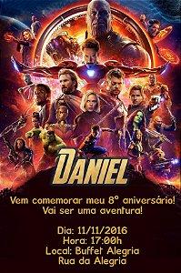 Convite digital personalizado Vingadores: Guerra Infinita 018