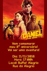 Convite digital personalizado Han Solo: Uma História Star Wars 012