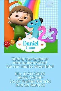 Convite digital personalizado Baby TV Charlie e os números