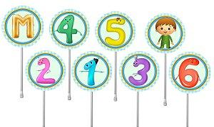 Embalagem com 40 toppers para docinhos Baby TV Charlie e os números