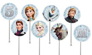 Embalagem com 40 toppers para docinhos Frozen - O Reino do Gelo