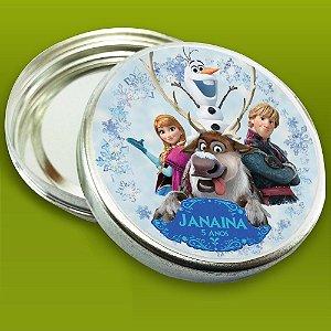 Latinha de aluminio 7 cm personalizada Frozen - O Reino do Gelo