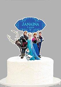 Topo de Bolo Personalizado Frozen - O Reino do Gelo