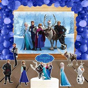 Kit convite, painel, totens e topo bolo Frozen - O Reino do Gelo
