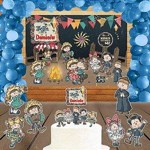 Kit convite, painel, totens e topo bolo Festa Junina