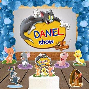 Kit convite, painel, totens e topo bolo Tom e Jerry