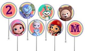 Embalagem com 24 toppers para  cupcake Rainbow Ruby