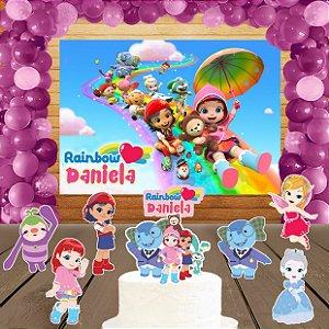 Kit convite, painel, totens e topo bolo Rainbow Ruby