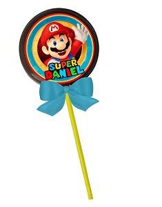 Adesivo personalizado para pirulito Super Mario
