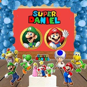 Kit convite, painel, totens e topo bolo Super Mario