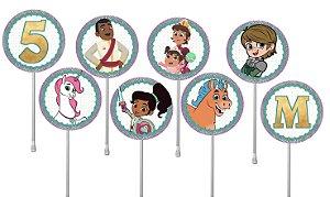 Embalagem com 24 toppers para  cupcake Nella, uma Princesa Corajosa