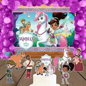 Kit convite, painel, totens e topo bolo Nella, uma Princesa Corajosa
