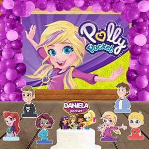 Kit convite, painel, totens e topo bolo Polly Pocket