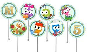 Embalagem com 40 toppers para docinhos Baby TV Choopies