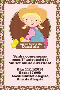 Convite digital personalizado Fazendinha Rosa 022