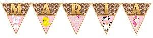 Bandeirinha Personalizada Fazendinha Rosa