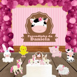 Kit convite, painel, totens e topo bolo Fazendinha Rosa