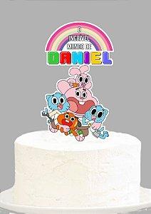 Topo de Bolo Personalizado O Incrível Mundo de Gumball