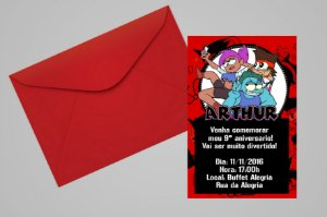 Convite 10x15 Ok, Ko! Vamos ser Heróis