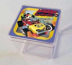Adesivo caixinha acrílica 5x5 Mickey Aventura sobre Rodas