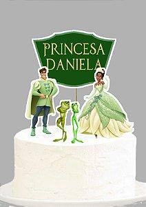 Topo de Bolo Personalizado Princesa Tiana - Princesa e o Sapo