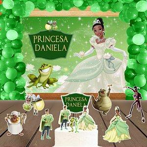 Kit convite, painel, totens e topo bolo Princesa Tiana - Princesa e o Sapo