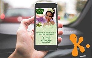 Convite personalizado para WhatsApp Princesa Tiana - Princesa e o Sapo