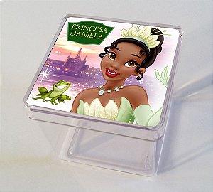 Adesivo caixinha acrílica 5x5 Princesa Tiana - Princesa e o Sapo