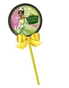 Adesivo personalizado para pirulito Princesa Tiana - Princesa e o Sapo