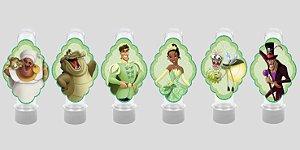 Embalagem com 24 apliques para Tubete Princesa Tiana - Princesa e o Sapo