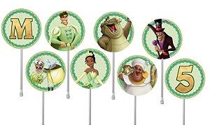 Embalagem com 40 toppers para docinhos Princesa Tiana - Princesa e o Sapo
