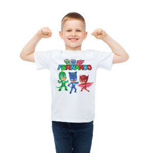 Camiseta Infantil  PJ Masks – Heróis de Pijama