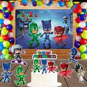 Kit convite, painel, totens e topo bolo PJ Masks – Heróis de Pijama