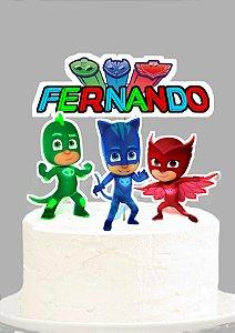 Topo de Bolo Personalizado PJ Masks – Heróis de Pijama