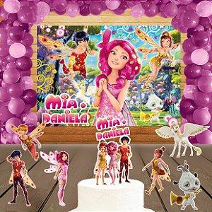 Kit convite, painel, totens e topo bolo Mundo de Mia