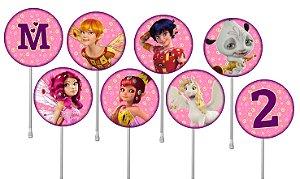 Embalagem com 24 toppers para cupcake Mundo de Mia