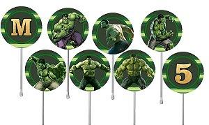 Embalagem com 24 toppers para cupcake O Incrível Hulk