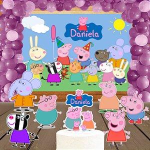 Kit convite, painel, totens e topo bolo Peppa Pig