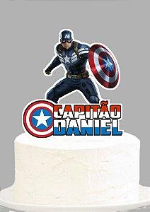 Topo de Bolo Personalizado Capitão América