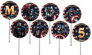 Embalagem com 24 toppers para cupcake Capitão América